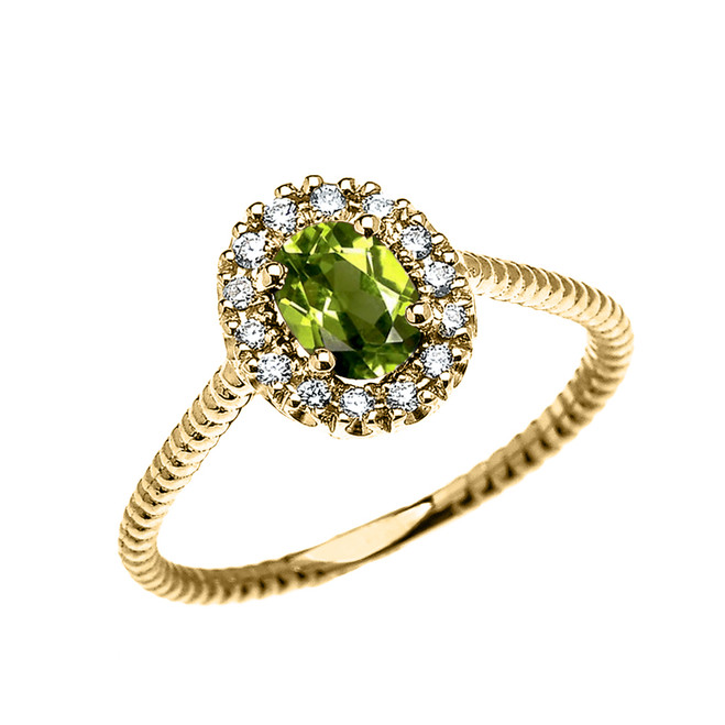 Yellow Gold Dainty Halo Diamond and Oval Peridot Solitaire Rope Design Engagement/Promise Ring