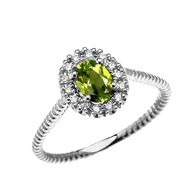 White Gold Dainty Halo Diamond and Oval Peridot Solitaire Rope Design Engagement/Promise Ring
