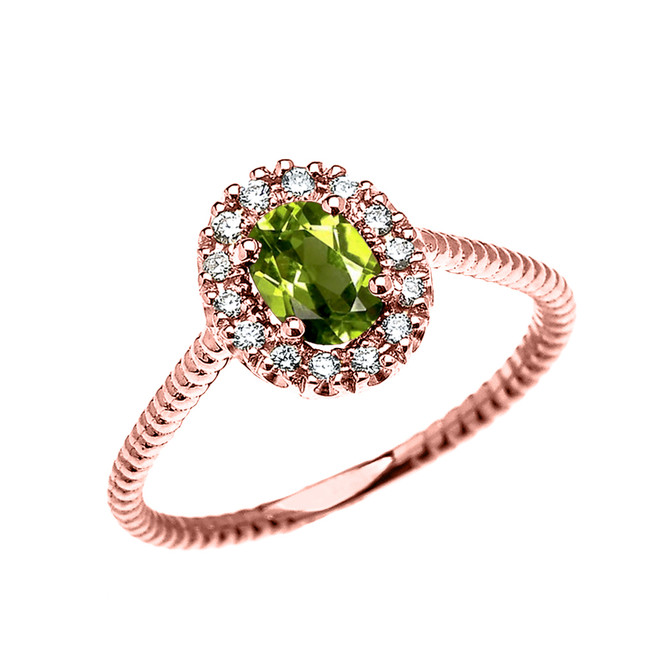 Rose Gold Dainty Halo Diamond and Oval Peridot Solitaire Rope Design Engagement/Promise Ring