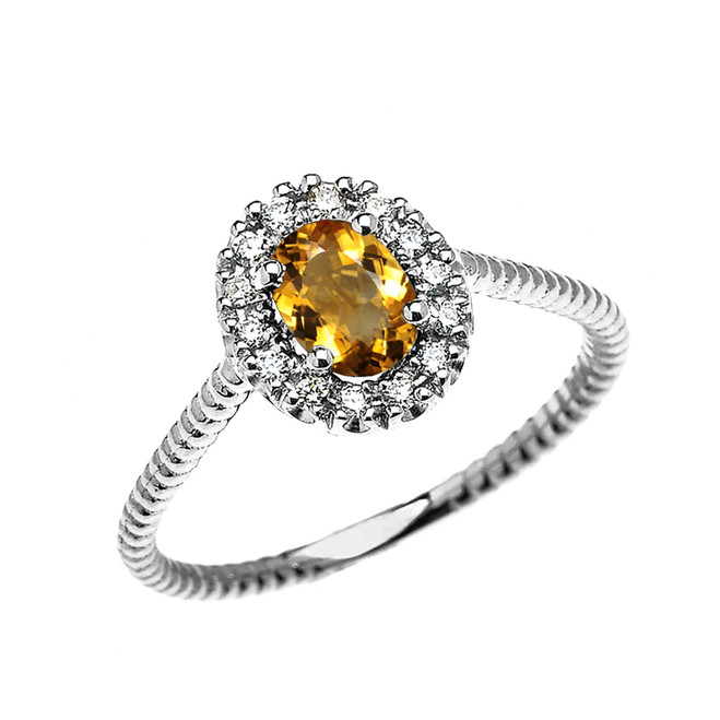 White Gold Dainty Halo Diamond and Oval Citrine Solitaire Rope Design Engagement/Promise/Stackable Ring
