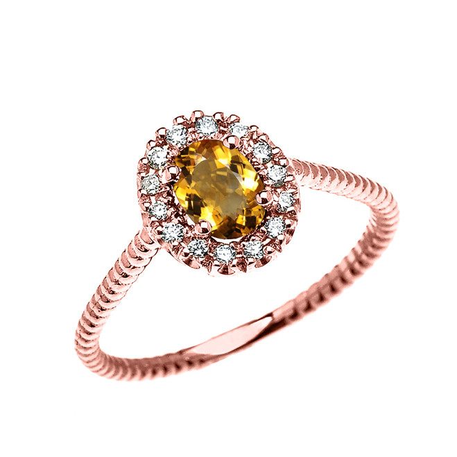 Rose Gold Dainty Halo Diamond and Oval Citrine Solitaire Rope Design Engagement/Promise Ring