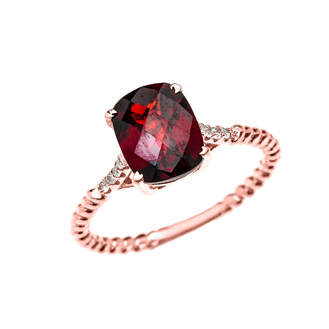 Rose Gold Dainty 2 Carat Garnet and Diamond Solitaire Rope Design Engagement Ring
