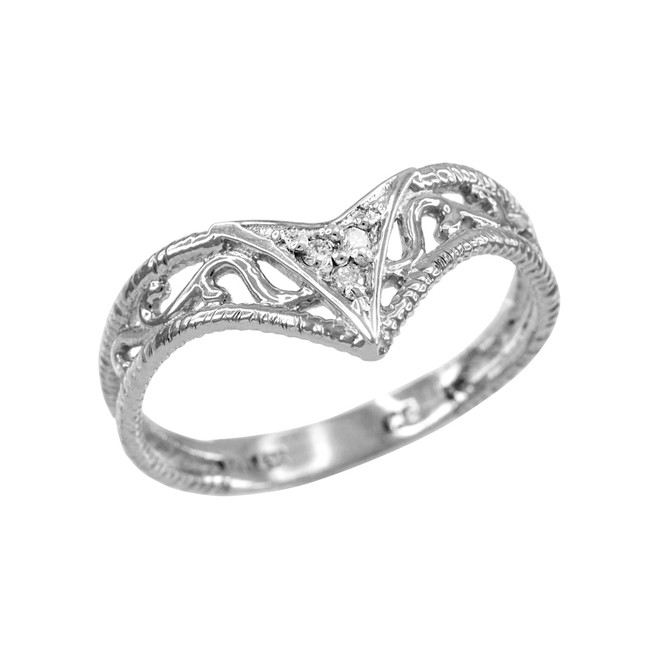 Fine 925 Sterling Silver Filigree Chevron CZ Ring for Women