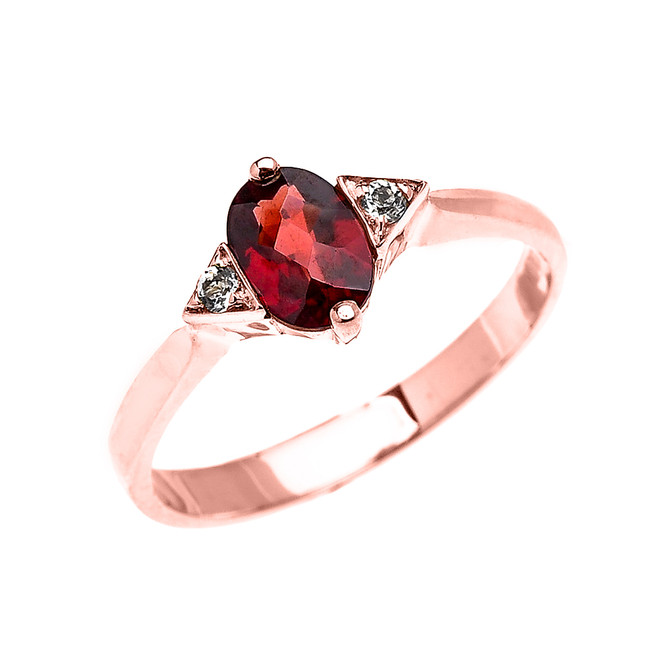 Rose Gold Solitaire Oval Garnet and White Topaz Engagement/Promise Ring