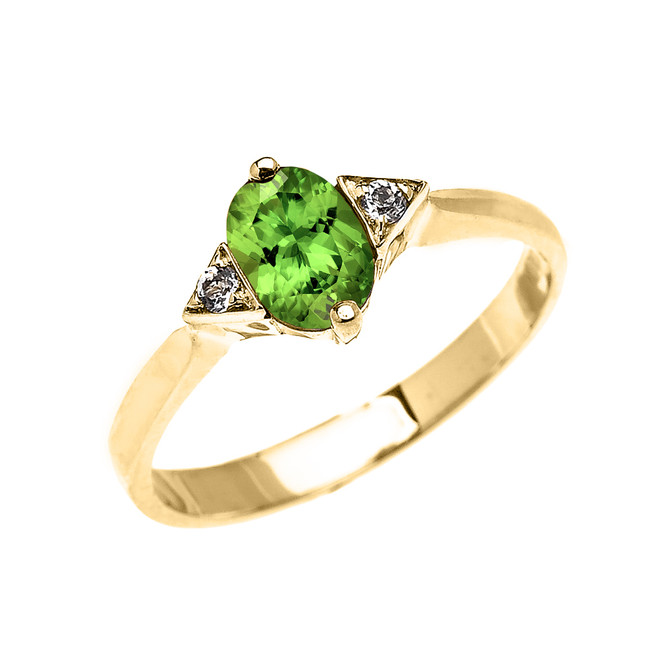 Yellow Gold Solitaire Oval Peridot and White Topaz Engagement/Promise Ring