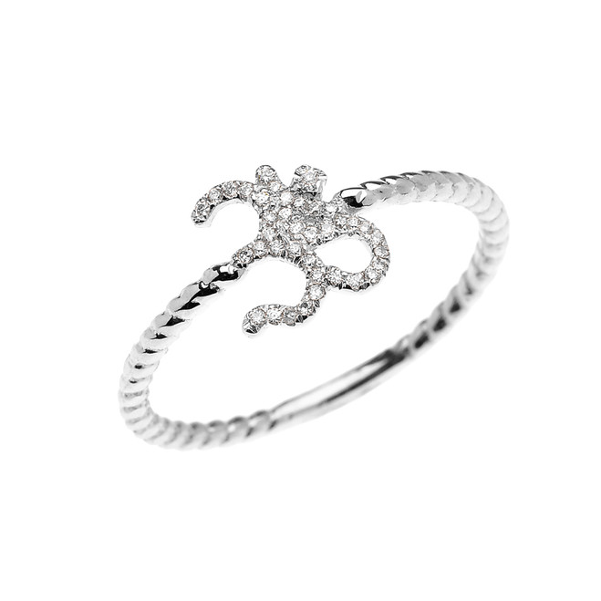 White Gold Dainty Diamond OHM (OM) Ganesh Rope Design Ring