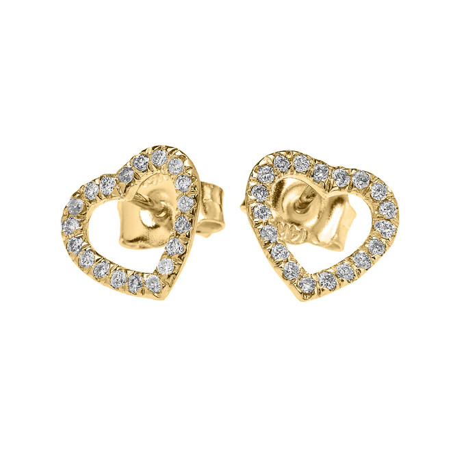 Yellow Gold Elegant Open Heart Diamond Stud Earring