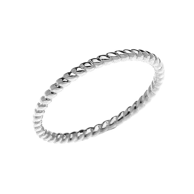 White Gold Dainty Stackable Rope Design Ring