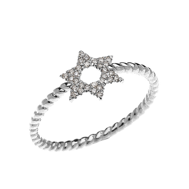 White Gold Dainty Star of David Diamond Rope Design Ring
