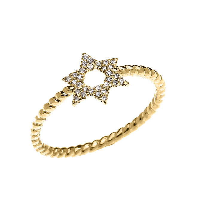 Yellow Gold Dainty Star of David Diamond Rope Design Ring
