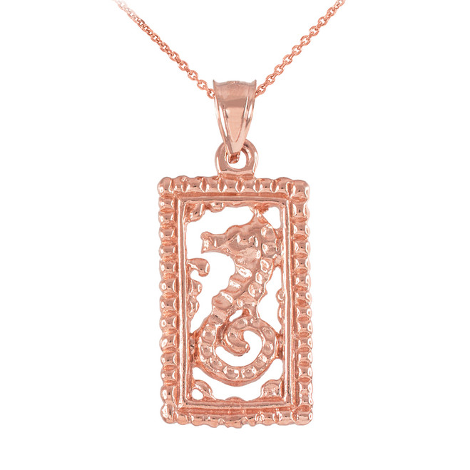 Rose Gold Rectangular Beaded Frame Seahorse Pendant Necklace