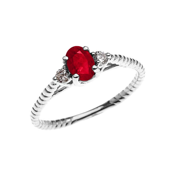Dainty White Gold Ruby Solitaire Rope Design Engagement/Promise Ring