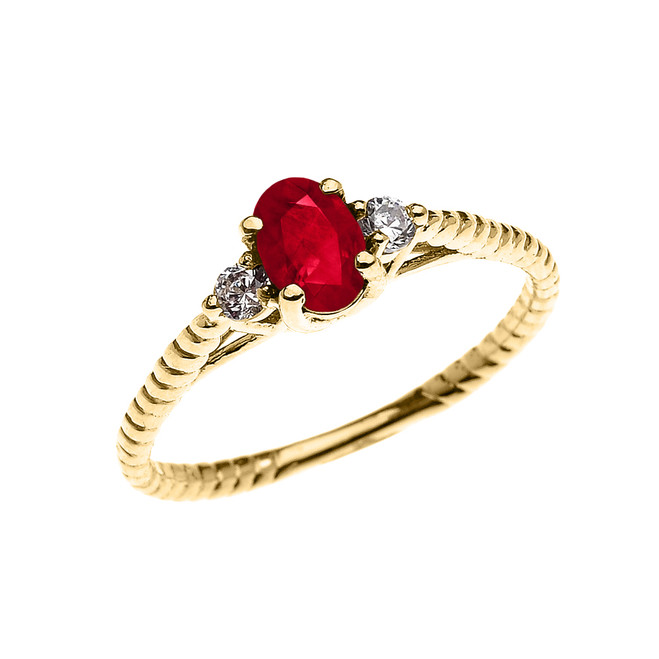 Dainty Yellow Gold Ruby Solitaire Rope Design Engagement/Promise Ring