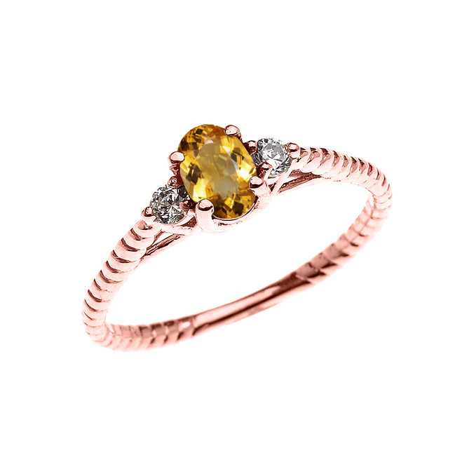 Dainty Rose Gold Citrine Solitaire Rope Design Engagement/Promise Ring