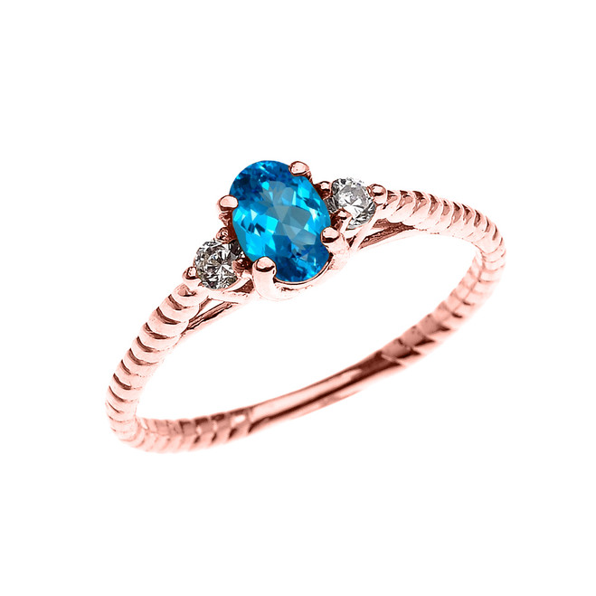 Dainty Rose Gold Blue Topaz Solitaire Rope Design Engagement/Promise Ring
