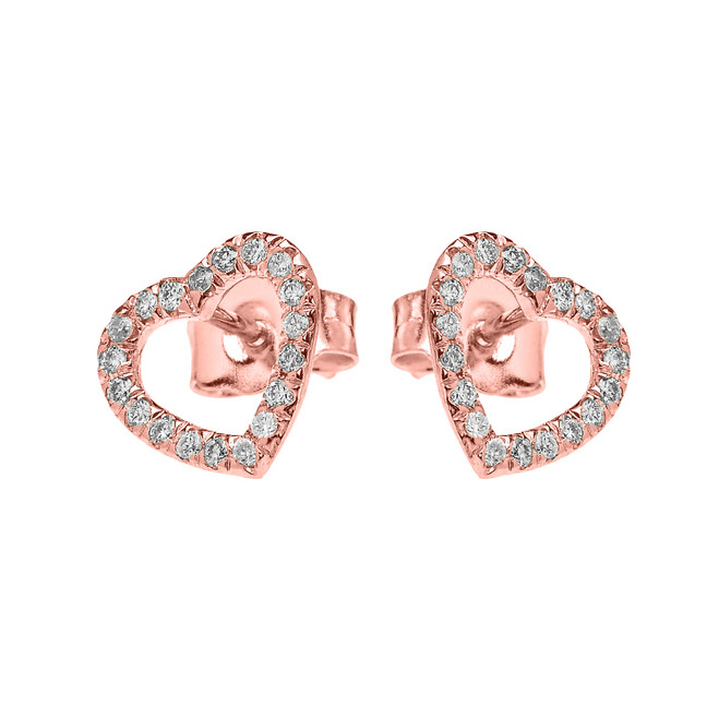 Rose Gold Elegant Open Heart Diamond Stud Earring