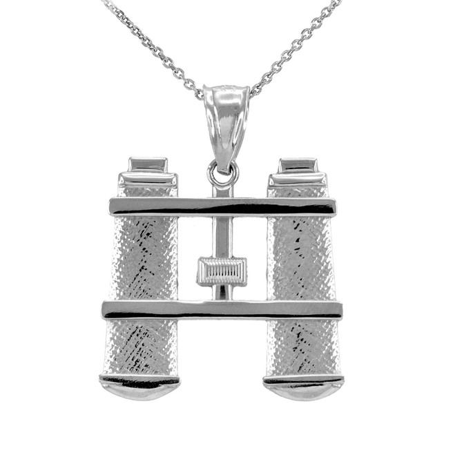White Gold Binoculars Pendant Necklace