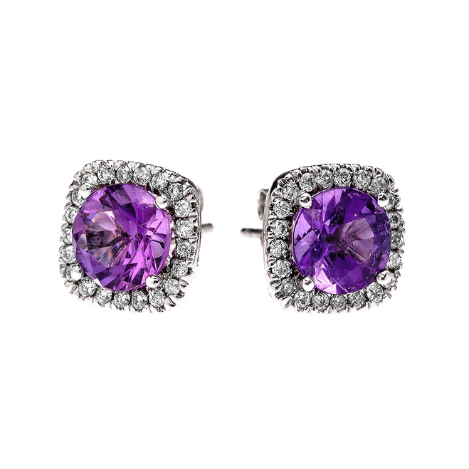 White Gold Elegant Diamond Cushion Halo Solitaire Amethyst Stud Earrings