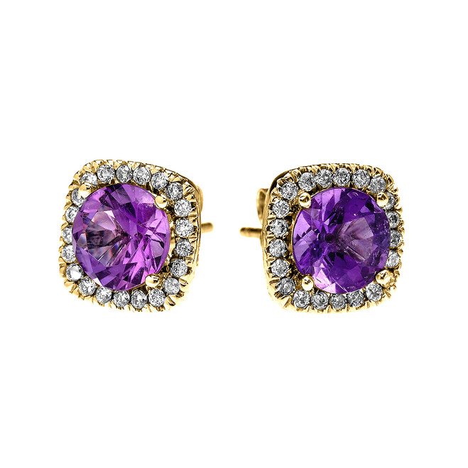Yellow Gold Elegant Diamond Cushion Halo Solitaire Amethyst Stud Earrings
