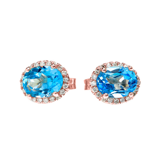 Rose Gold Elegant Diamond Oval Halo Solitaire Blue Topaz Stud Earrings
