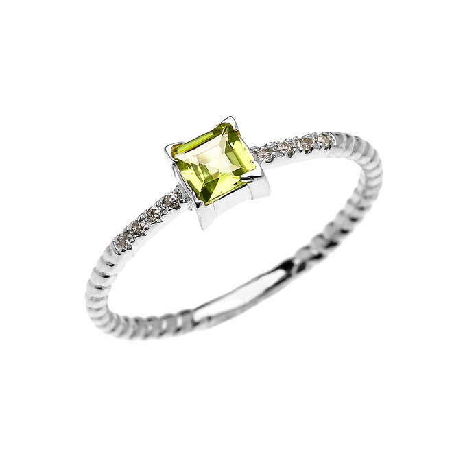 Dainty White Gold Solitaire Princess Cut Peridot and Diamond Rope Design Engagement/Promise Ring