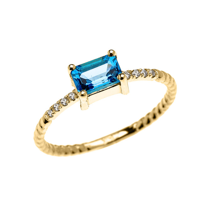 Dainty Yellow Gold Solitaire Emerald Cut Blue Topaz and Diamond Rope Design Engagement/Promise Ring