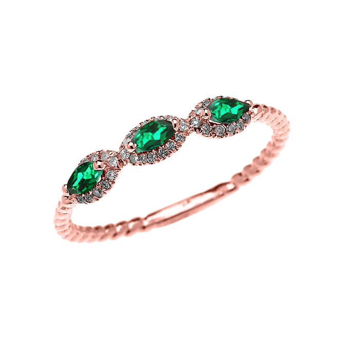 Rose Gold Dainty Three Stone Marquise Emerald Rope Diamond Promise Ring