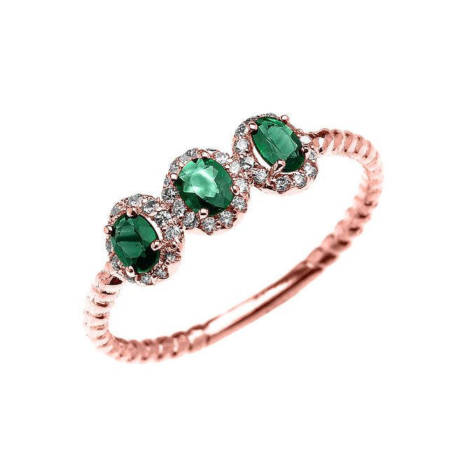 Rose Gold Dainty Three Stone Emerald Rope Diamond Promise Ring