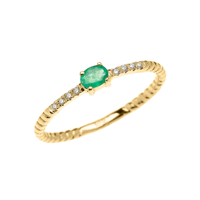 Yellow Gold Dainty Solitaire Emerald and Diamond Rope Design Promise Ring