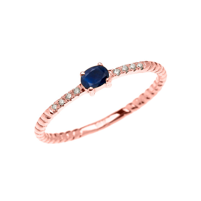 Rose Gold Dainty Solitaire Sapphire and Diamond Rope Design Promise Ring