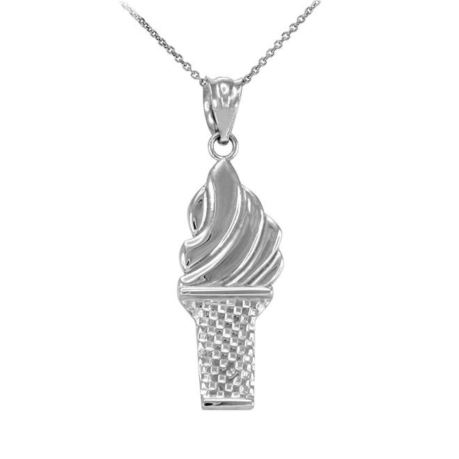 White Gold Ice Cream Cone Charm Necklace