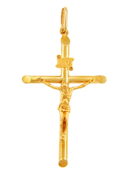 14k Yellow Gold Tubular Cross Charm Catholic Crucifix Pendant