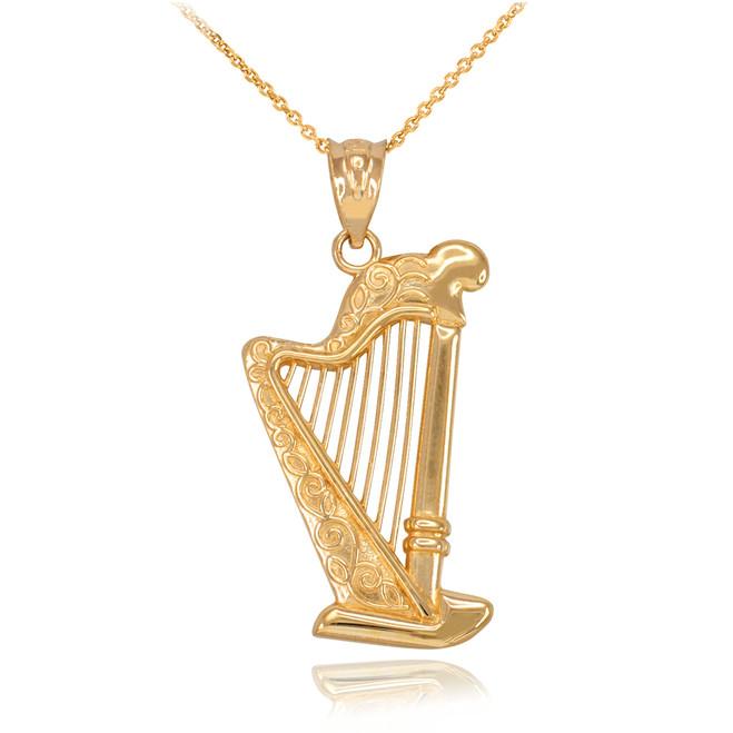 Yellow Gold Harp Pendant Necklace