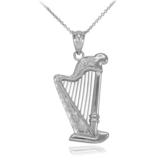Sterling Silver Harp Pendant Necklace