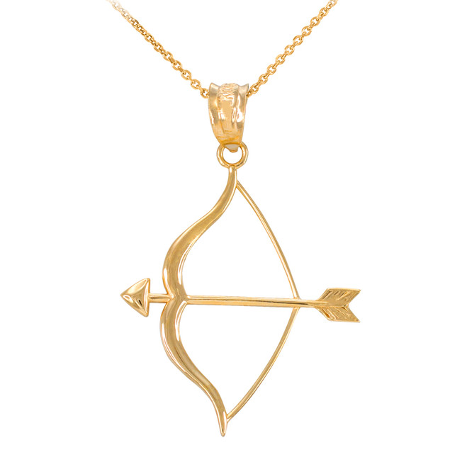 Polished Gold Bow and Arrow Pendant Necklace
