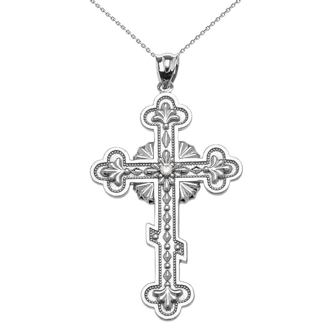 White Gold Elegant Eastern Orthodox Diamond Cross Pendant Necklace