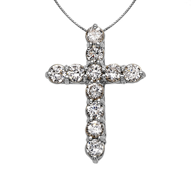 Elegant Sterling Silver 3 Carat Round Cubic Zirconia Small Cross Pendant Necklace