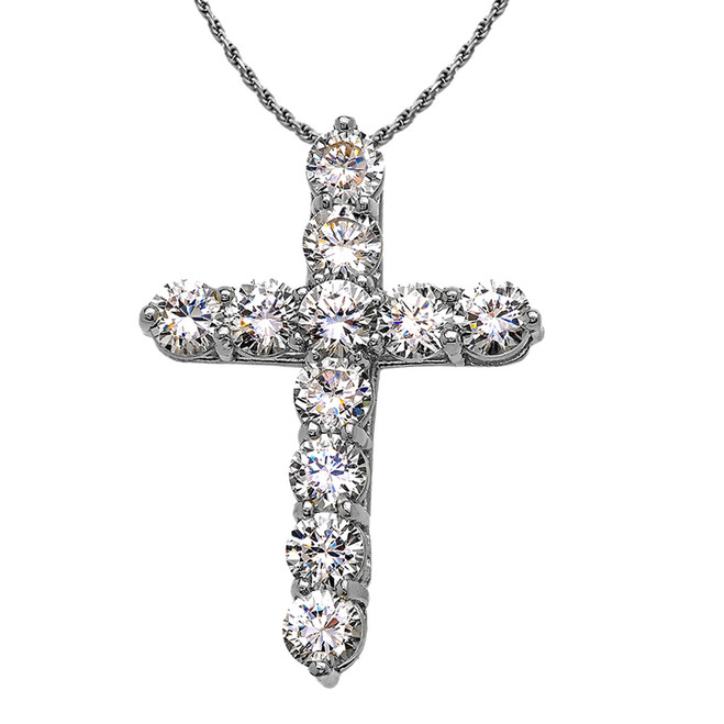 Elegant Sterling Silver 7 Carat Round Cubic Zirconia Cross Pendant Necklace (Large)