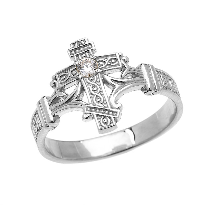 White Gold Solitaire Diamond Orthodox Cross with Encrypted Russian Prayer Elegant Ring