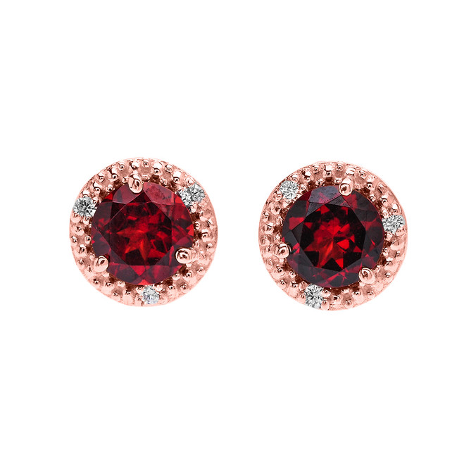 Halo Stud Earrings in Rose Gold with Solitaire Garnet and Diamonds