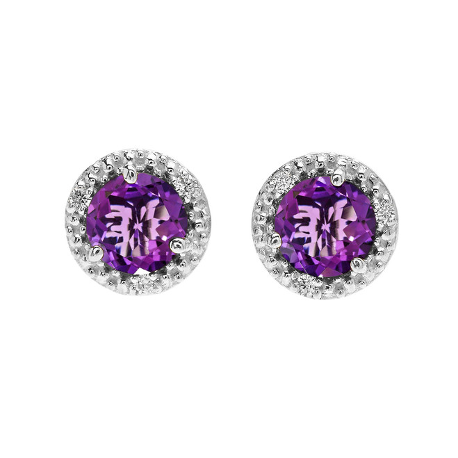 Halo Stud Earrings in White Gold with Solitaire Amethyst and Diamonds