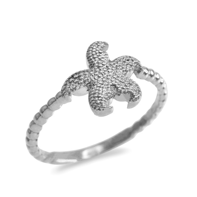 White Gold Textured Starfish Beaded Ring