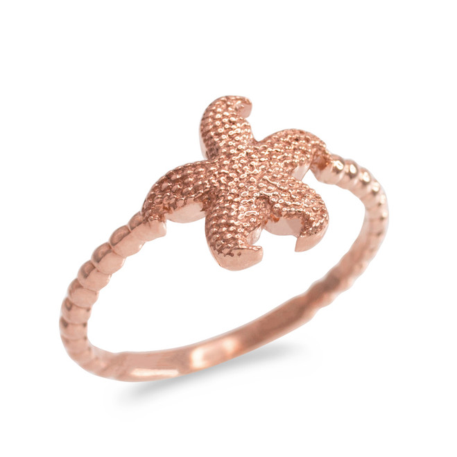 Rose Gold Textured Starfish Beaded Ring
