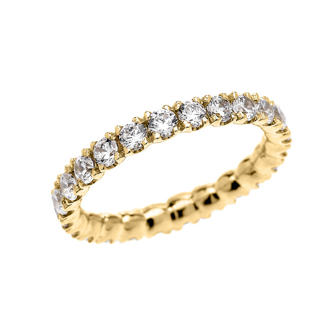Yellow Gold 1.5 Carat Diamond Stackable Wedding Band
