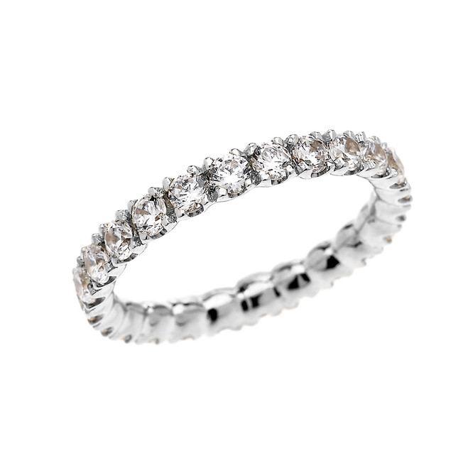 White Gold 1.5 Carat Diamond Stackable Wedding Band