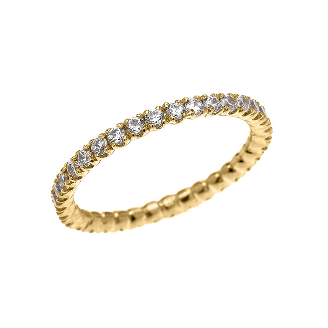 Yellow Gold 0.5 Carat Diamond Stackable Wedding Band