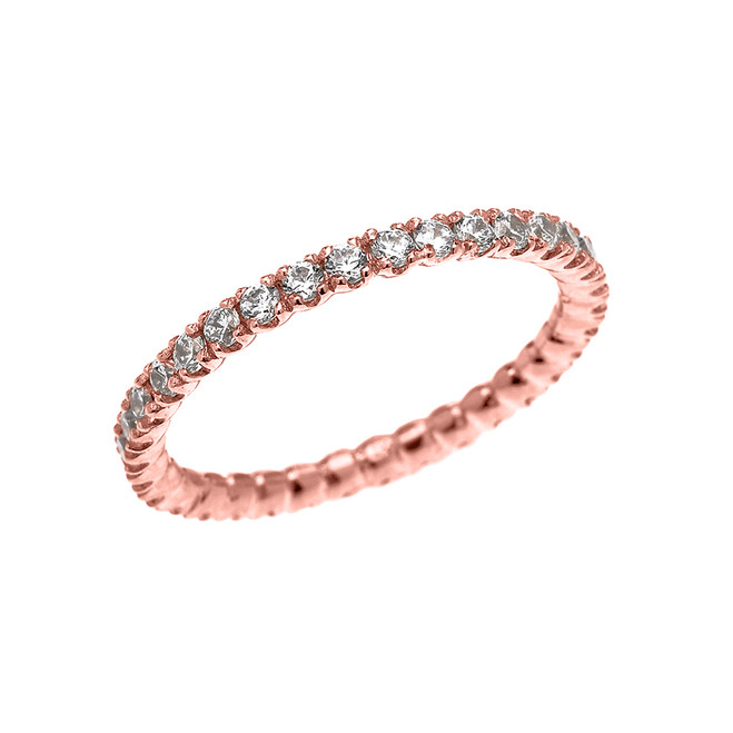 Rose Gold 0.5 Carat Diamond Stackable Wedding Band
