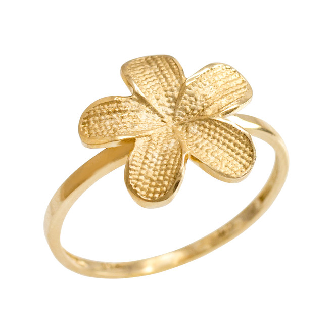 Gold Textured Hawaiian Plumeria Flower Ring