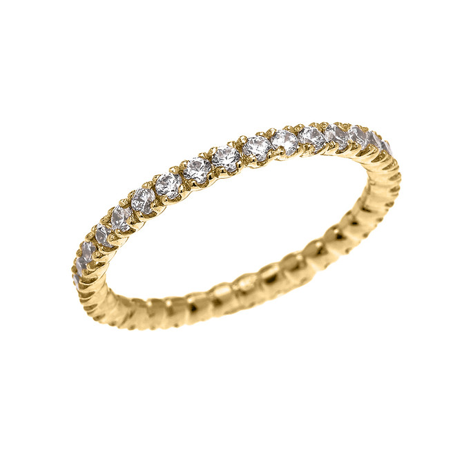 Yellow Gold 1.5 Carat Cubic Zirconia Stackable Wedding Band