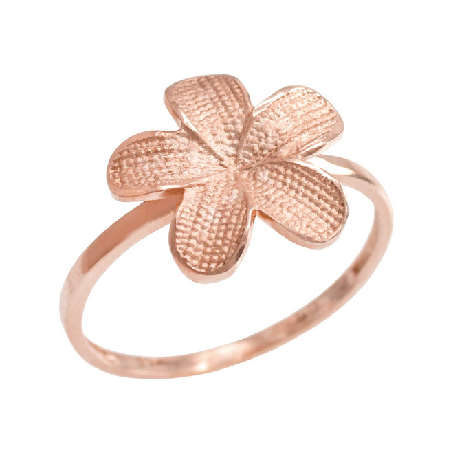 Rose Gold Textured Hawaiian Plumeria Flower Ring